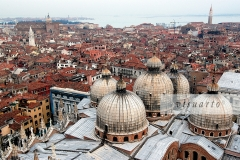 Roofs of Basilica di San Marco with a view of San Marco